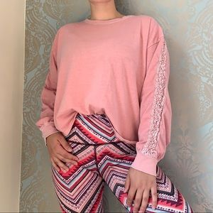 Hollister Pink Long Sleeved Top with Lace Details